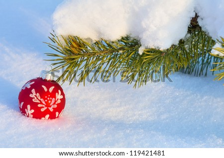 Festive background. Snow-covered branch with a Christmas toy. - stock photo