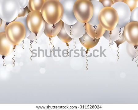 Festive Background Gold White Balloons Stock Illustration