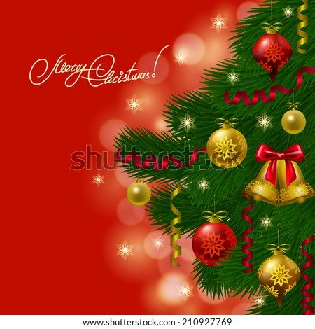 Festive background with realistic balls, Christmas trees for cards, invitations. Illustration.