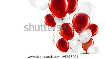 festive background with red and white balloons   - stock photo