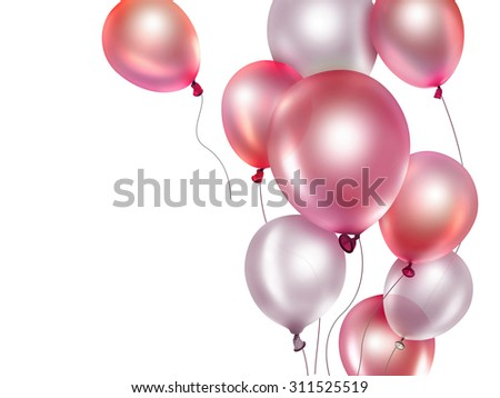 festive background with red balloons - stock photo