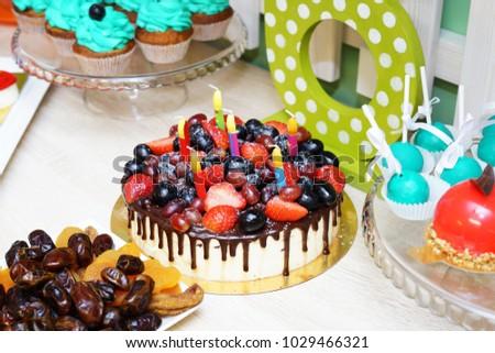 Festive Birthday Cake Fresh Berries Fruit Stock Photo 1029466321