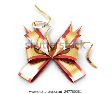 Festive bow on the package isolated on white background - stock photo
