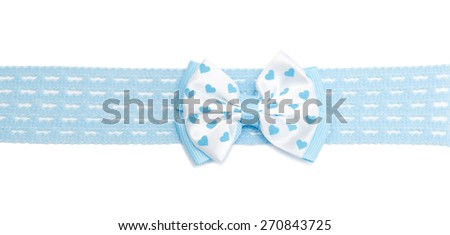 Festive bows with tails made from ribbon, isolated on white - stock photo