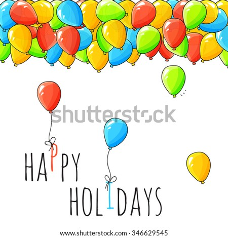 Festive card with balloons. Departing spheres. Festive card for congratulations. Holiday banner with balloons. Air helium balls under a ceiling - stock photo