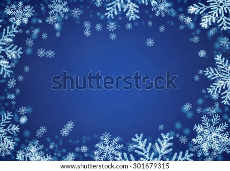 Festive Christmas  background with snowflakes - stock photo