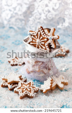 Festive Christmas bag with homemade gingerbread cookies - stock photo