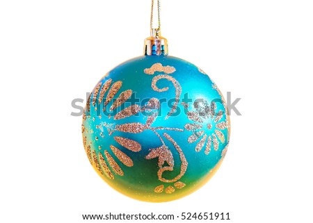 Festive Christmas blue ball with patterns, isolated on white background, close-up