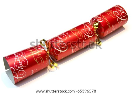 Festive christmas cracker over a white background