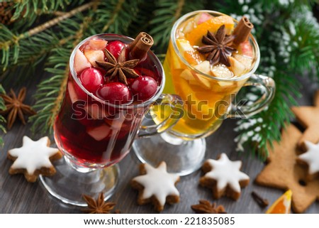 festive Christmas drinks and cookies, horizontal, top view - stock photo