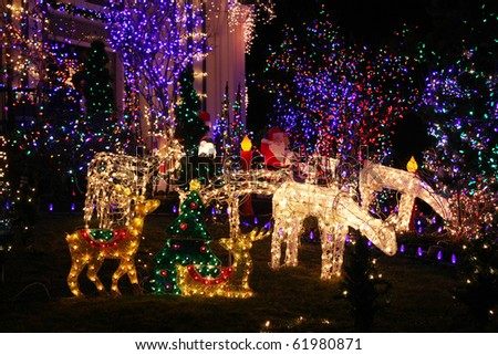 Festive Christmas light display. - stock photo