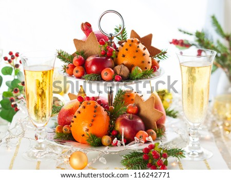 Festive Christmas table - stock photo
