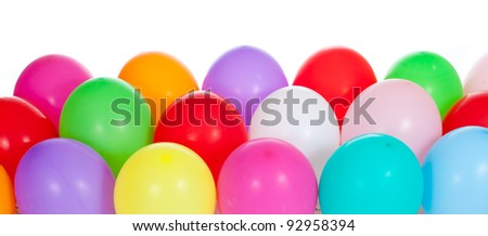 festive colorful balloons on white background - stock photo