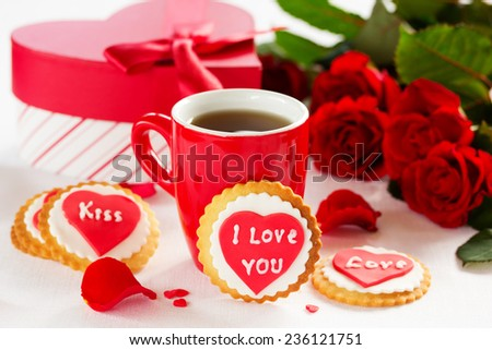 Festive cookies with hearts and roses for Valentine's Day. - stock photo