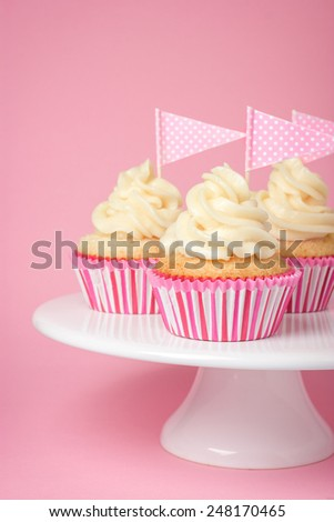 Festive cupcakes with frosting for Valentine day - stock photo