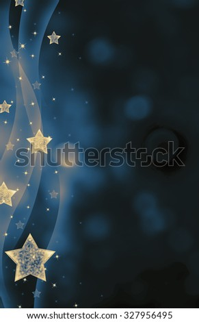Festive dark blue Christmas background with stars - stock photo