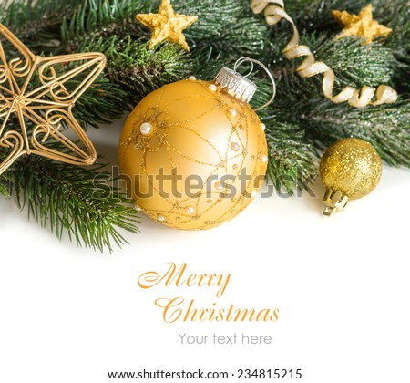Festive decoration with golden bauble, stars and garland