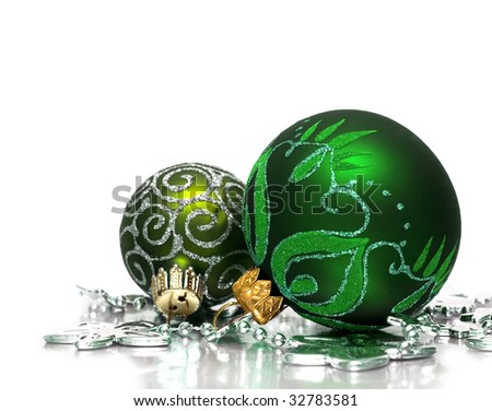 festive decoration with silver flowers - stock photo