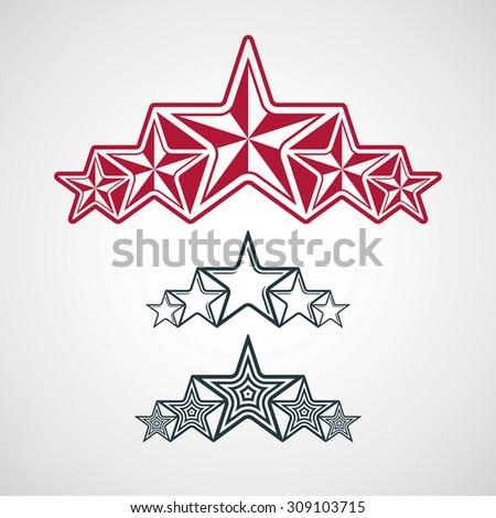 Festive design element with stars, decorative luxury template. Social concept theme emblems set. - stock photo