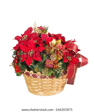 Festive display of holiday flower basket, isolated over white