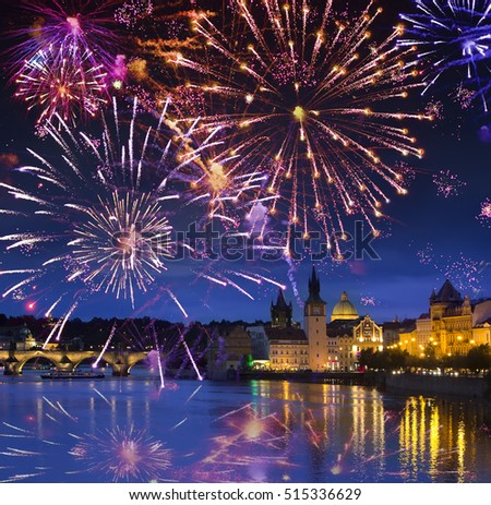 Festive firework over Karl Bridge, Prague, the Czech Republic