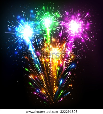 Festive Firework Salute Burst on Black Background - stock photo