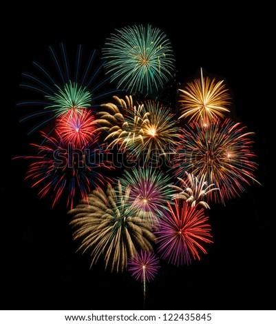 Festive fireworks display - stock photo