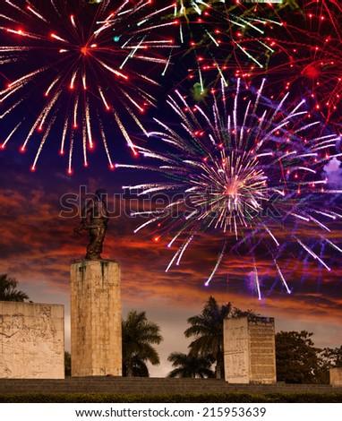 Festive fireworks over a monument Che Guevara. Cuba. Santa Clara - stock photo