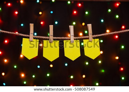 festive flags on the background of colored lights