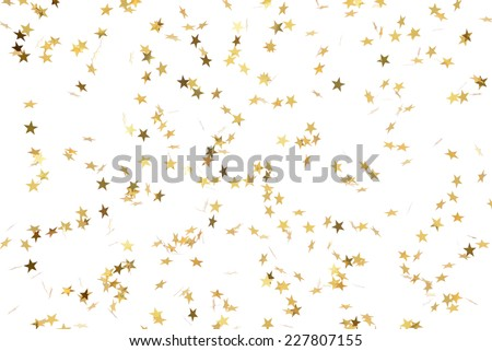Festive flying gold stars shower