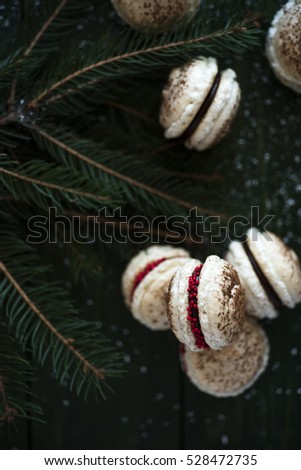Festive frensh macaroons decorateted for Christmas