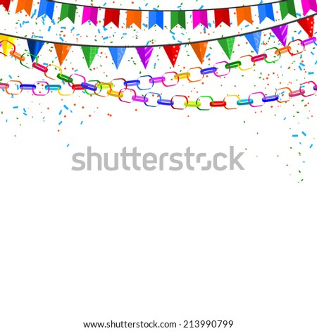 Festive garland, streamers and flags isolated on a white background.  - stock photo