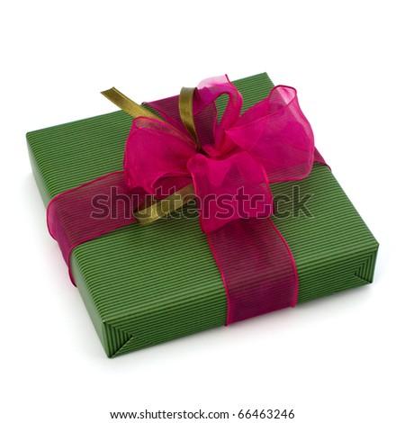 festive gift box isolated on white background - stock photo