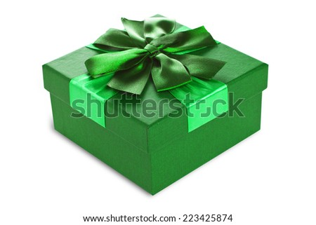 Festive gift box made cardboard beautiful stock photo royalty free festive gift box made of cardboard with a beautiful ribbon of green color on a white negle Gallery