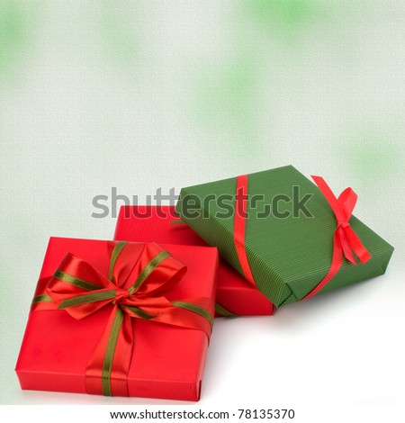 festive gift box stack. greeting card - stock photo