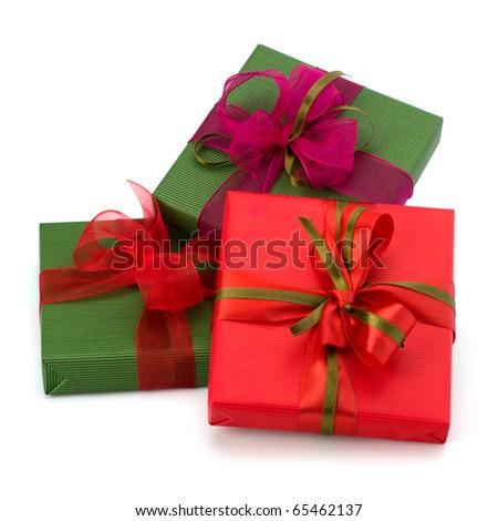 festive gift box stack isolated on white background - stock photo