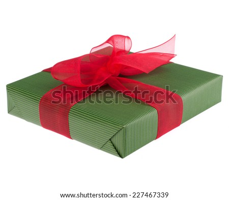 festive gift box with bow isolated on white background