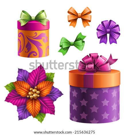 festive gift boxes and bows, set of assorted holiday clip-art objects, illustration isolated on white background - stock photo