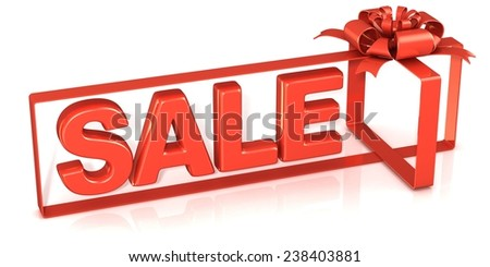 Festive gift ribbon and bow, box shaped with sale sign. 3D rendering isolated on white.