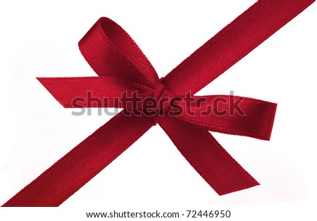 Festive gift ribbon and bow isolated on white - stock photo