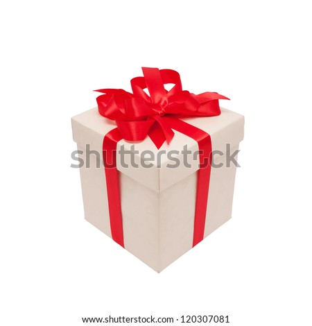Festive gift. White box and red satin bow. Ready for your text or logo. Isolated on white background - stock photo
