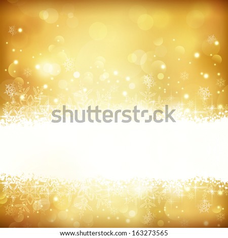 Festive gold background with out of focus light dots, stars,snowflakes and copy space. Great for the festive season of Christmas to come or any other golden anniversary occasion. - stock photo