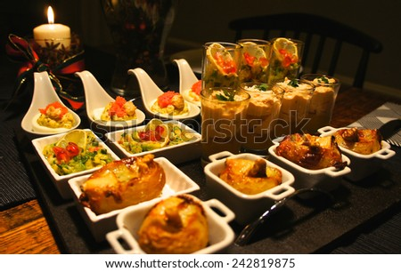 Festive gourmet  appetizer tray - stock photo