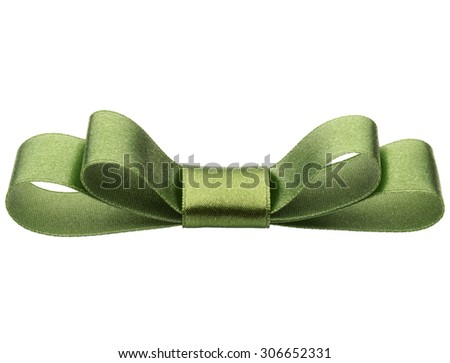 Festive green gift  bow isolated on white background cutout - stock photo