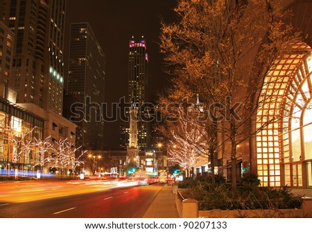 Festive holiday lights by the Water Tower on Chicago's Michigan Avenue