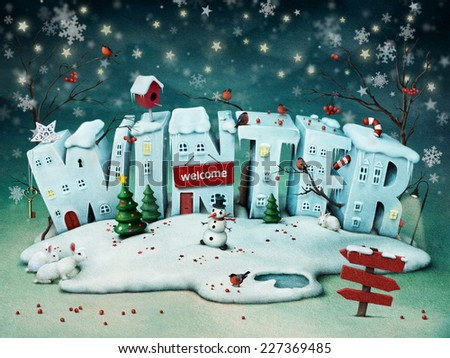 Festive illustration of snowy Winter letters - stock photo