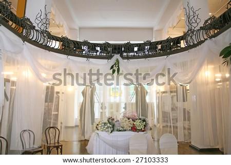 festive interior of the temple - stock photo