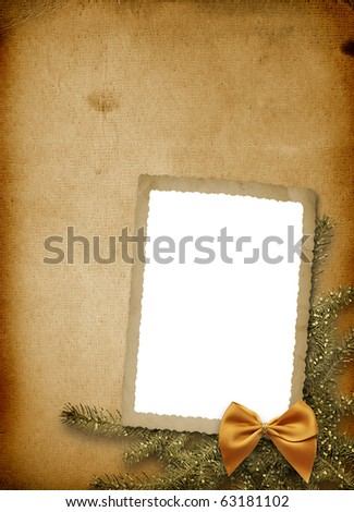 Festive invitation or greeting with firtree and bow - stock photo