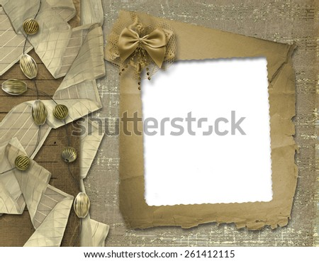 Festive invitation or greeting with ribbons and beads