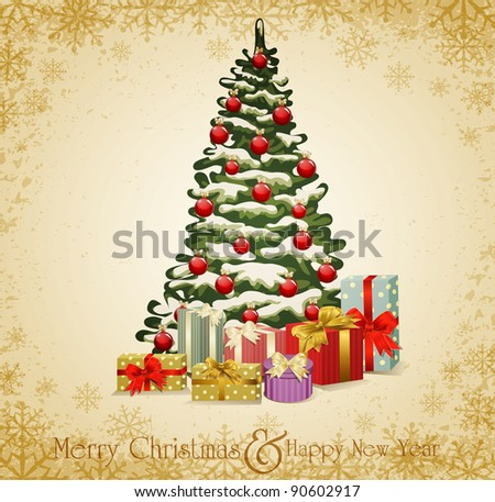 festive invitation to the Christmas tree and lots of gifts (JPEG version) - stock photo